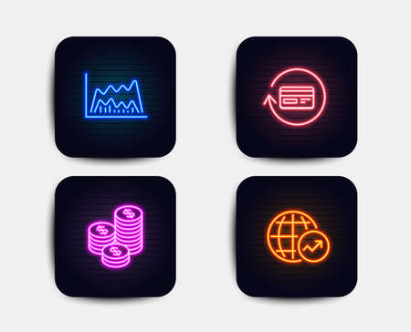 Neon glow lights. Set of Refund commission, Coins and Trade chart icons. World statistics sign. Cashback card, Cash money, Market data. Global report.  Neon icons. Glowing light banners. Vector