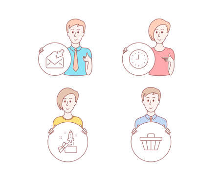 People hand drawn style. Set of Clock, Open mail and Innovation icons. Shop cart sign. Time or watch, View e-mail, Crowdfunding. Web buying.  Character hold circle button. Man with like hand. Vector Illustration