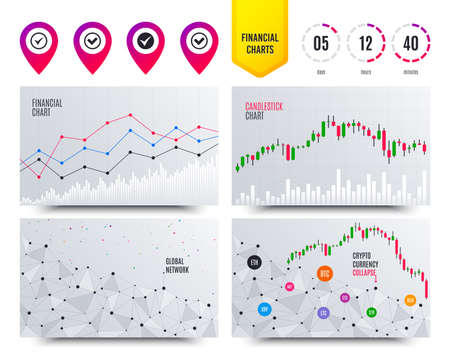 Financial planning charts. Check icons. Checkbox confirm circle sign symbols. Cryptocurrency stock market graphs icons. Trendy design. Vector