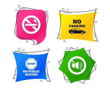 Hör auf zu rauchen und keine Geräusche. Privater Parkplatz oder öffentlicher Zugang. Zigarettensymbol. Lautstärke des Lautsprechers. Geometrische bunte Tags. Banner mit flachen Symbolen. Trendiges Design. Vektor