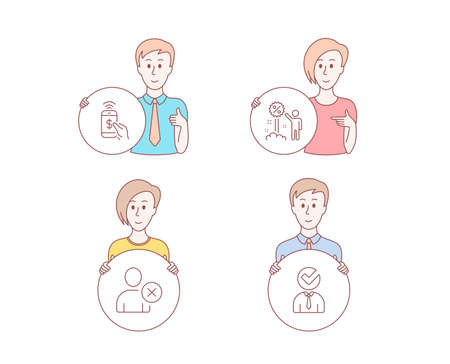 People hand drawn style. Set of Phone payment, Discount and Delete user icons. Vacancy sign. Mobile pay, Sale shopping, Remove profile. Businessman concept. Character hold circle button. People Vector