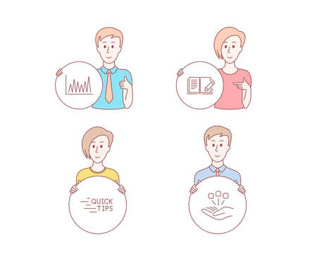 People hand drawn style. Set of Education, Feedback and Line graph icons. Consolidation sign. Quick tips, Book with pencil, Market diagram. Strategy.  Character hold circle button. Man with like hand