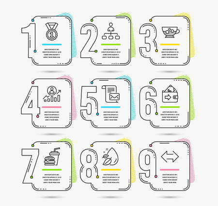 Infographic template with 9 options. Set of Hamburger, Best rank and Career ladder icons. Wallet, Management and Water drop signs. Cold coffee, Mail letter and Sync symbols. Steps vector Çizim