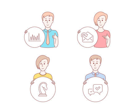 People hand drawn style. Set of Receive mail, Line graph and Marketing strategy icons. Approve sign. Incoming message, Market diagram, Chess knight. People character hold circle button.