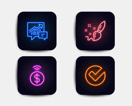 Neon glow lights. Set of Paint brush, Accounting and Contactless payment icons. Verify sign. Creativity, Supply and demand, Financial payment. Selected choice.  Neon icons. Glowing light banners Illustration