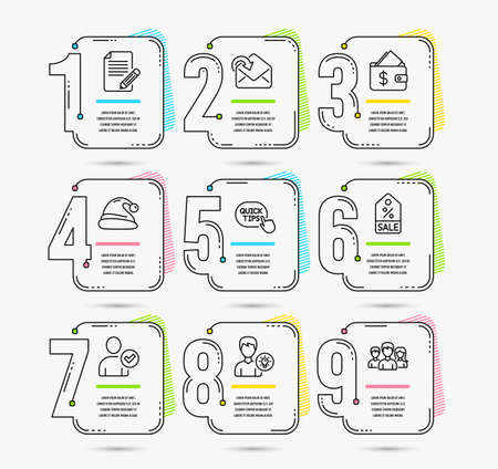 Infographic template with numbers 9 options. Set of Identity confirmed, Santa hat and Person idea icons. Receive mail, Wallet and Sale coupon signs. Quick tips, Article and Teamwork symbols. Vector  イラスト・ベクター素材