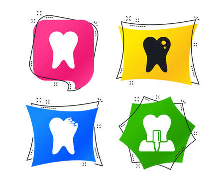 Dental care icons. Caries tooth sign. Tooth endosseous implant symbol. Geometric colorful tags. Banners with flat icons. Trendy design. Vector