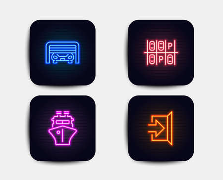 Neon glow lights. Set of Parking place, Parking garage and Ship icons. Exit sign. Transport, Automatic door, Shipping watercraft. Escape.  Neon icons. Glowing light banners. Vector