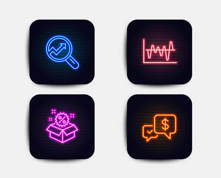 Neon glow lights. Set of Analytics, Stock analysis and Sale icons. Payment received sign. Audit analysis, Business trade, Discount. Money.  Neon icons. Glowing light banners. Vector