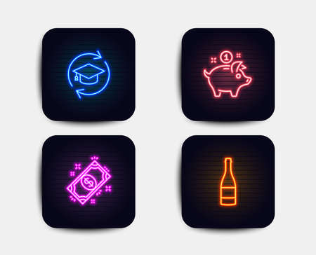 Neon glow lights. Set of Saving money, Payment and Continuing education icons. Champagne bottle sign. Piggy bank, Finance, Online education. Anniversary alcohol.  Neon icons. Glowing light banners