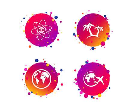 Icône de voyage de voyage. Avion, symboles du globe terrestre. Signe de palmier. Voyagez à travers le monde. Boutons de cercle dégradé avec des icônes. Conception de points aléatoires. Vecteur