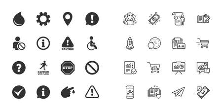 Set of Attention, Information and Caution icons. Question mark, warning and stop signs. Injury, disabled person and tick symbols. Paper plane, report and shopping cart icons. Group of people. Vector Illustration