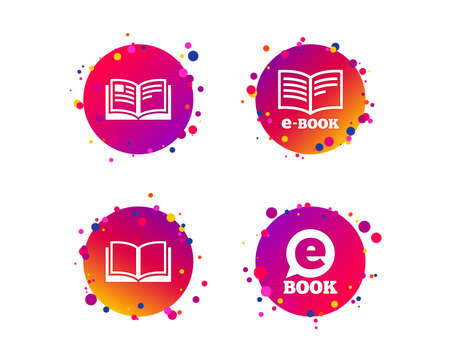 Electronic book icons. E-Book symbols. Speech bubble sign. Gradient circle buttons with icons. Random dots design. Vector Illustration