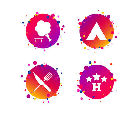 Food, hotel, camping tent and tree icons. Knife and fork. Break down tree. Road signs. Gradient circle buttons with icons. Random dots design. Vector