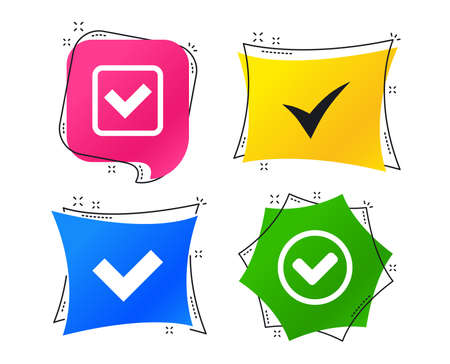 Check icons. Checkbox confirm circle sign symbols. Geometric colorful tags. Banners with flat icons. Trendy design. Vector Çizim