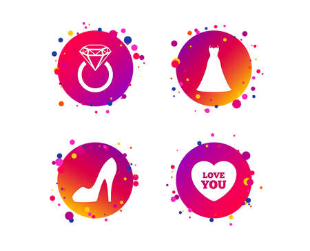 Wedding dress icon. Women's shoe and love heart symbols. Wedding or engagement day ring with diamond sign. Gradient circle buttons with icons. Random dots design. Vector