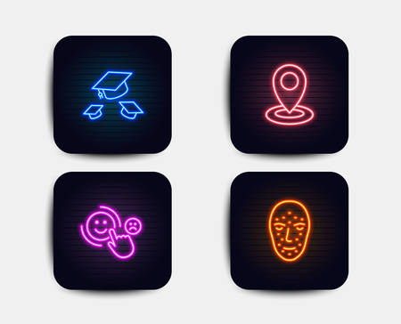 Neon glow lights. Set of Throw hats, Customer satisfaction and Location icons. Face biometrics sign. College graduation, Happy smile, Map pointer. Facial recognition.  Neon icons. Vector