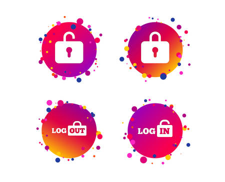 Login and Logout icons. Sign in or Sign out symbols. Lock icon. Gradient circle buttons with icons. Random dots design. Vector