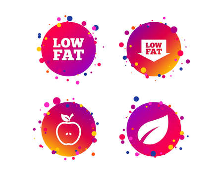Low fat arrow icons. Diets and vegetarian food signs. Apple with leaf symbol. Gradient circle buttons with icons. Random dots design. Vector