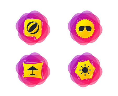 Beach holidays icons. Ball, umbrella and sunglasses signs. Summer sun symbol. Geometric gradient sales shapes. Creative banners. Template for design. Vector