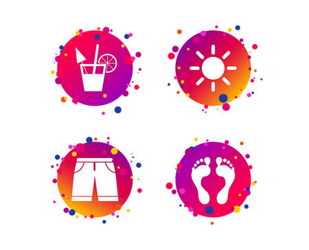 Beach holidays icons. Cocktail, human footprints and swimming trunks signs. Summer sun symbol. Gradient circle buttons with icons. Random dots design. Vector