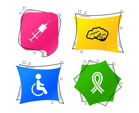 Medicine icons. Syringe, disabled, brain and ribbon signs. Breast cancer awareness symbol. Handicapped invalid. Geometric colorful tags. Banners with flat icons. Trendy design. Vector