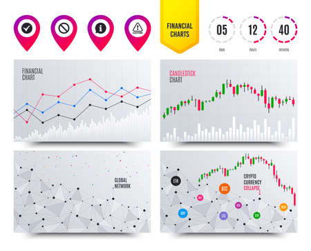 Financial planning charts. Information icons. Stop prohibition and attention caution signs. Approved check mark symbol. Cryptocurrency stock market graphs icons. Trendy design. Vector