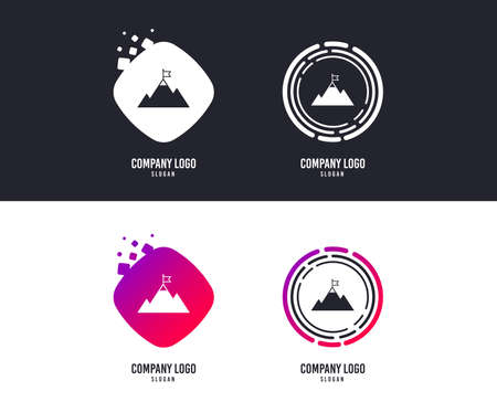 Logotype concept. Flag on mountain icon. Leadership motivation sign. Mountaineering symbol. Logo mountain valley design. Colorful buttons with icons. Vector