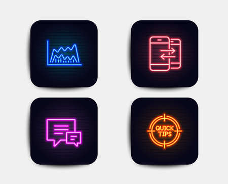 Neon glow lights. Set of Trade chart, Comment and Phone communication icons. Tips sign. Market data, Talk bubbles, Incoming and outgoing calls. Quick tricks.  Neon icons. Glowing light banners. Vector