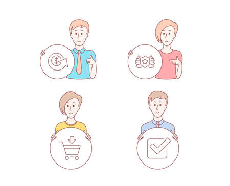 People hand drawn style. Set of Dollar exchange, Laureate and Online market icons. Checkbox sign. Money refund, Award shield, Shopping cart. Approved tick.  Character hold circle button. Vector Illustration
