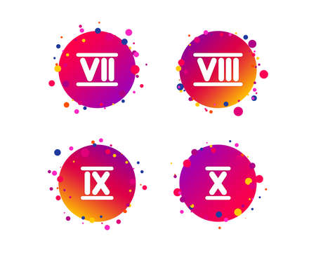 Roman numeral icons. 7, 8, 9 and 10 digit characters. Ancient Rome numeric system. Gradient circle buttons with icons. Random dots design. Vector Illustration