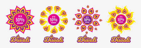 Diwali sales banners. Up to 50% Discount. Sale offer price sign. Special offer symbol. Save 50 percentages. Diwali hindu festival of lights. Shopping tags. Vector Illustration