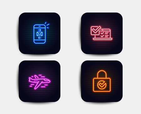 Neon glow lights. Set of Airplane, Mail and Online survey icons. Password encryption sign. Plane, Smartphone communication, Quiz test. Protection locker.  Neon icons. Glowing light banners. Vector