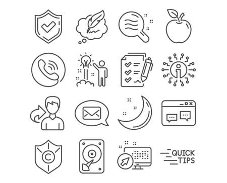 Set of Survey checklist, Messenger and Skin condition icons. Hdd, Education and Copyright chat signs. Browser window, Creative idea and Copyright protection symbols. Vector