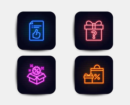 Neon glow lights. Set of Secret gift, Sale and Approved document icons. Shopping sign. Unknown package, Discount, Like symbol. Gifts and sales.  Neon icons. Glowing light banners. Vector Stock Illustratie