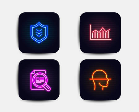 Neon glow lights. Set of Money diagram, Check article and Shield icons. Face scanning sign. Currency diagram, Magnifying glass, Protection or security. Faces detection.  Neon icons. Vector Illustration