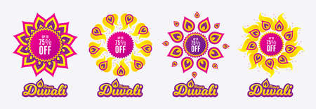 Diwali sales banners. Up to 75% off Sale. Discount offer price sign. Special offer symbol. Save 75 percentages. Diwali hindu festival of lights. Shopping tags. Vector