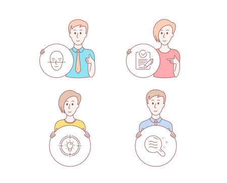People hand drawn style. Set of Idea, Rfp and Face recognition icons. Skin condition sign. Solution, Request for proposal, Faces biometrics. Search magnifier.  Character hold circle button. Vector