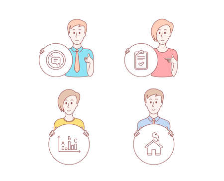 People hand drawn style. Set of Checklist, Survey results and Stop talking icons. Home sign. Survey, Best answer, Do not talk. House building.  Character hold circle button. Man with like hand. Vector Foto de archivo - 109372978
