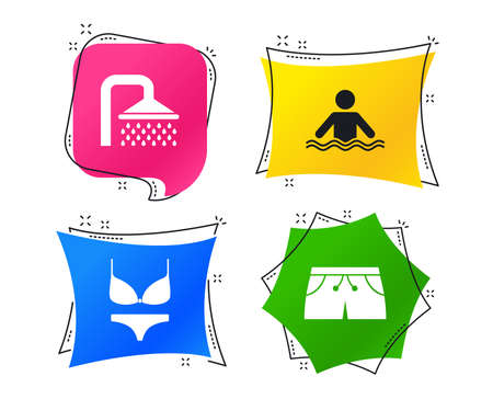 Swimming pool icons. Shower water drops and swimwear symbols. Human stands in sea waves sign. Trunks and women underwear. Geometric colorful tags. Banners with flat icons. Trendy design. Vector