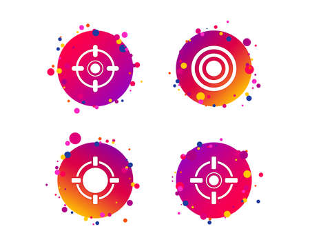 Crosshair icons. Target aim signs symbols. Weapon gun sights for shooting range. Gradient circle buttons with icons. Random dots design. Vector Archivio Fotografico - 111103685