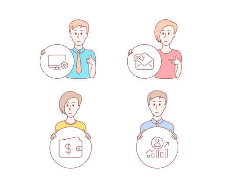 People hand drawn style. Set of Dollar wallet, Monitor settings and Receive mail icons. Career ladder sign. Cash money, Service cogwheel, Incoming message. Manager results. Vector