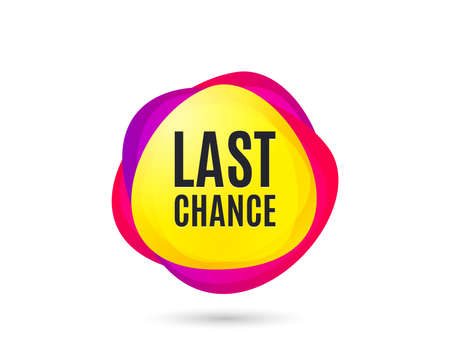 Last chance Sale. Special offer price sign. Advertising Discounts symbol. Gradient sales tag. Abstract shopping banner. Template for last chance design. Vector Reklamní fotografie - 111103697