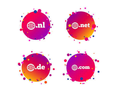 Top-level internet domain icons. De, Com, Net and Nl symbols with globe. Unique national DNS names. Gradient circle buttons with icons. Random dots design. Vector Çizim