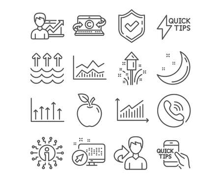 Set of Education, Fireworks and Success business icons. Evaporation, Growth chart and Trade infochart signs. Quickstart guide, Copywriting notebook and Graph symbols. Vector