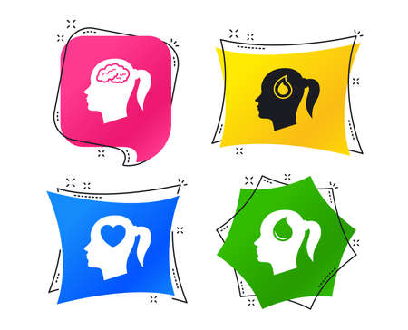 Head with brain icon. Female woman think symbols. Blood drop donation signs. Love heart. Geometric colorful tags. Banners with flat icons. Trendy design. Vector
