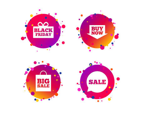 Sale speech bubble icons. Buy now arrow symbols. Black friday gift box signs. Big sale shopping bag. Gradient circle buttons with icons. Random dots design. Black friday sale vector.