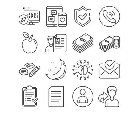 Set of Document, Dollar and Approved mail icons. Approved checklist, Avatar and Job interview signs. Savings, Social media and Keywords symbols. Information file, Usd currency, Confirmed document