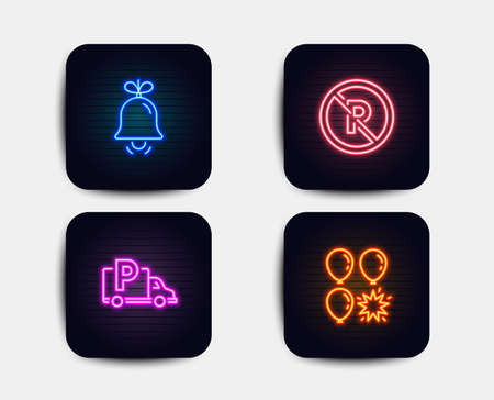 Neon glow lights. Set of Truck parking, Bell and No parking icons. Balloon dart sign. Free park, Alarm signal, Car park. Neon icons. Glowing light banners. Bell vector