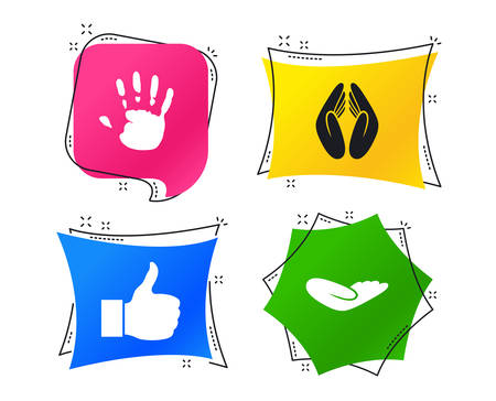 Hand icons. Like thumb up symbol. Insurance protection sign. Human helping donation hand. Prayer hands. Geometric colorful tags. Banners with flat icons. Trendy design. Vector